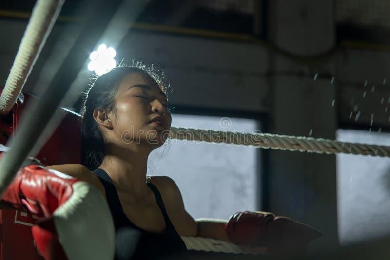 Handskar för boxning för uppriven ung kämpeboxareflicka bärande i idrottshall royaltyfria foton