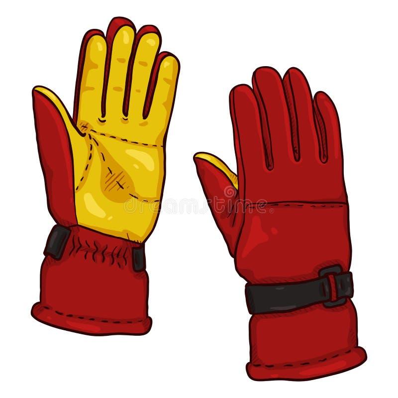 Handskar för illustration för vektortecknad filmfärg röda och gula - för Extremal vintersportar royaltyfri illustrationer