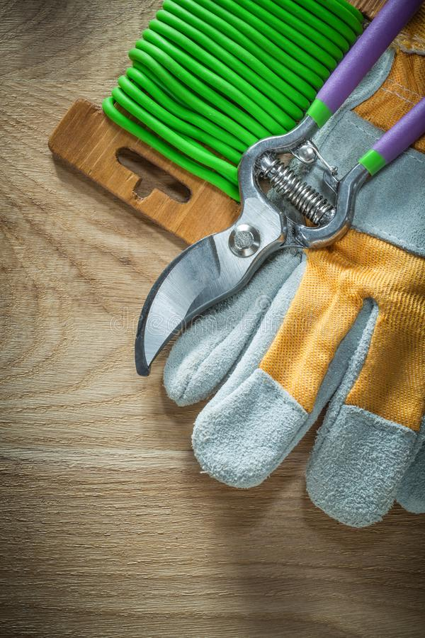 Handskar för säkerhet för band för vridning för trädgårds- prunerträdgård mjuka på trägalt royaltyfri bild