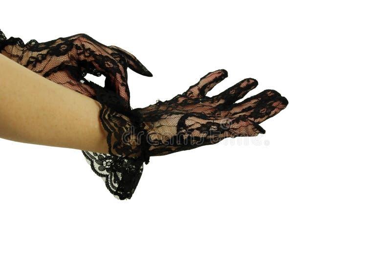 handskar snör åt royaltyfri fotografi