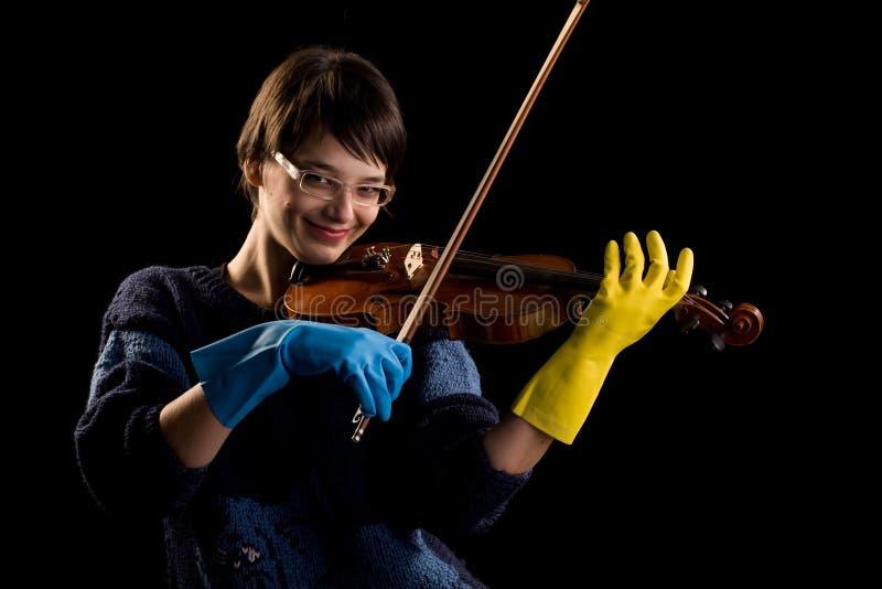 handskar som leker violinist arkivbilder