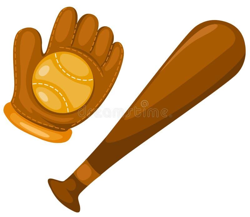 handske för bollbaseballslagträ royaltyfri illustrationer
