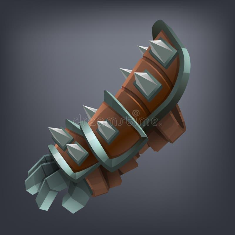 Handske för hand för järnfantasiharnesk för lek eller kort vektor illustrationer