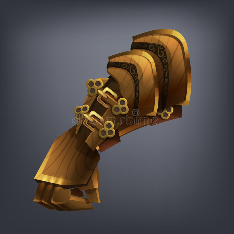 Handske för hand för järnfantasiharnesk för lek eller kort royaltyfri illustrationer
