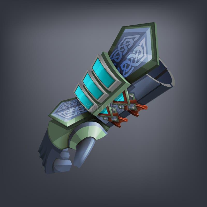 Handske för hand för järnfantasiharnesk för lek eller kort stock illustrationer