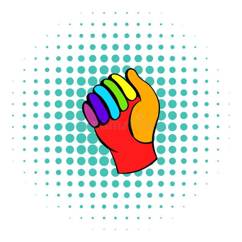 Handsken i regnbåge färgar symbolen, komiker utformar stock illustrationer