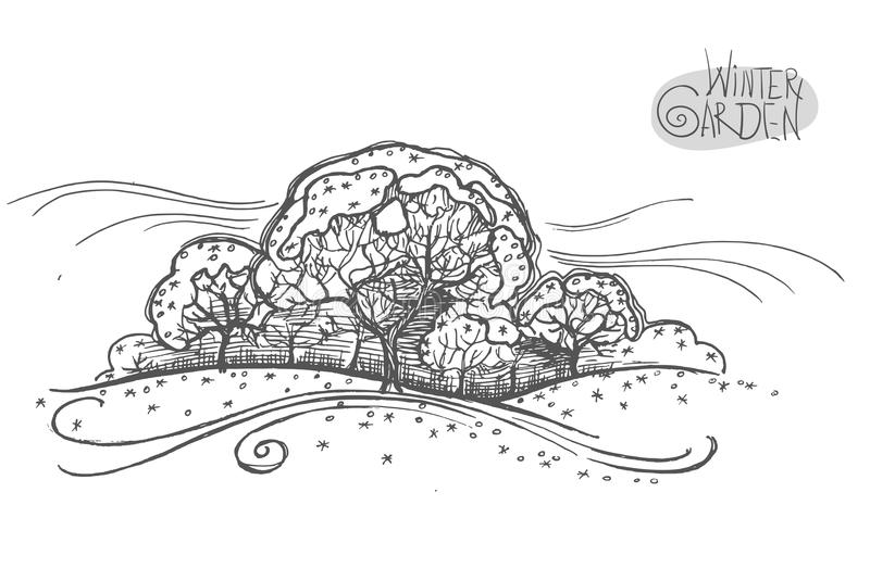 Handsketched illustration of winter garden. Freehand linear hand drawn picture retro doodle graphic style. vector illustration