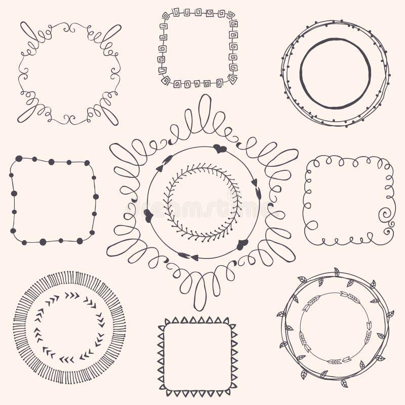 Handsketched klotterramar bakgrundsdesignelement fyra vita snowflakes stock illustrationer