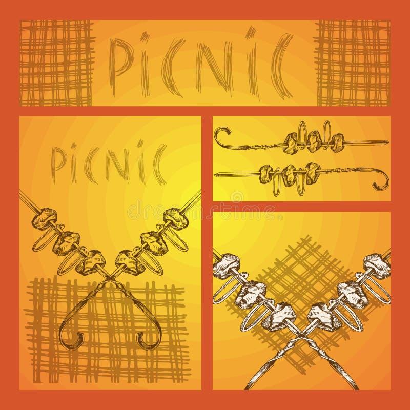 Handskizze Satz des Geschäfts formatiert mit Bildern für ein Picknick im Stil des Gekritzels Kebab auf einer Aufsteckspindel und  vektor abbildung