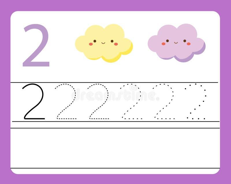 handskriftövning Lära nummer med gulliga tecken nummer två Bildande tryckbar arbetssedel för unge- och litet barnintelligens vektor illustrationer