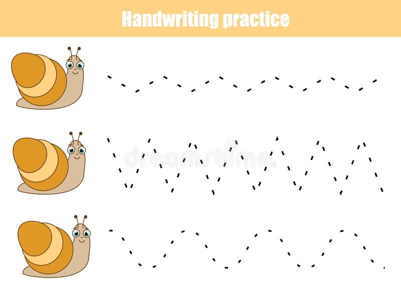 Handskriftövningsark Bildande barn spelar, den tryckbara arbetssedeln för ungar Djurtema royaltyfri illustrationer