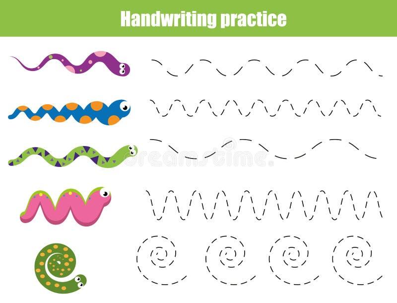 Handskriftövningsark Bildande barn spelar, den tryckbara arbetssedeln för ungar med krabba linjer och ormar royaltyfri illustrationer