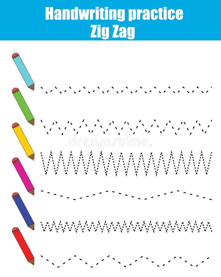 Handskriftövningsark Bildande barn spelar, den tryckbara arbetssedeln för ungar med sicksack vektor illustrationer