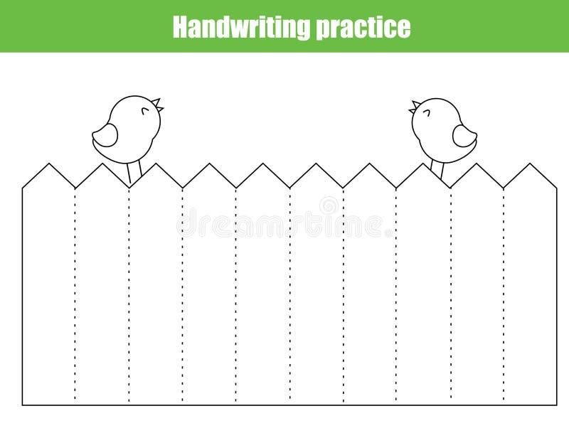 Handskriftövningsark Bildande barn spelar, den tryckbara arbetssedeln för ungar Spårande raka linjer royaltyfri illustrationer
