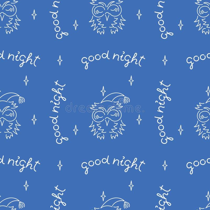 Handskrift God natt, söt sovuggla Sömlöst bakgrundstäcke för Vector royaltyfri illustrationer