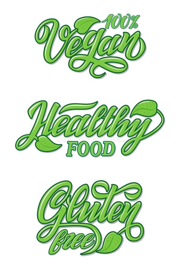 Handskrift Livsmedelsdesign för restaurang, kafémeny Element för etiketter, logotyper, märken, klistermärken eller ikoner stock illustrationer