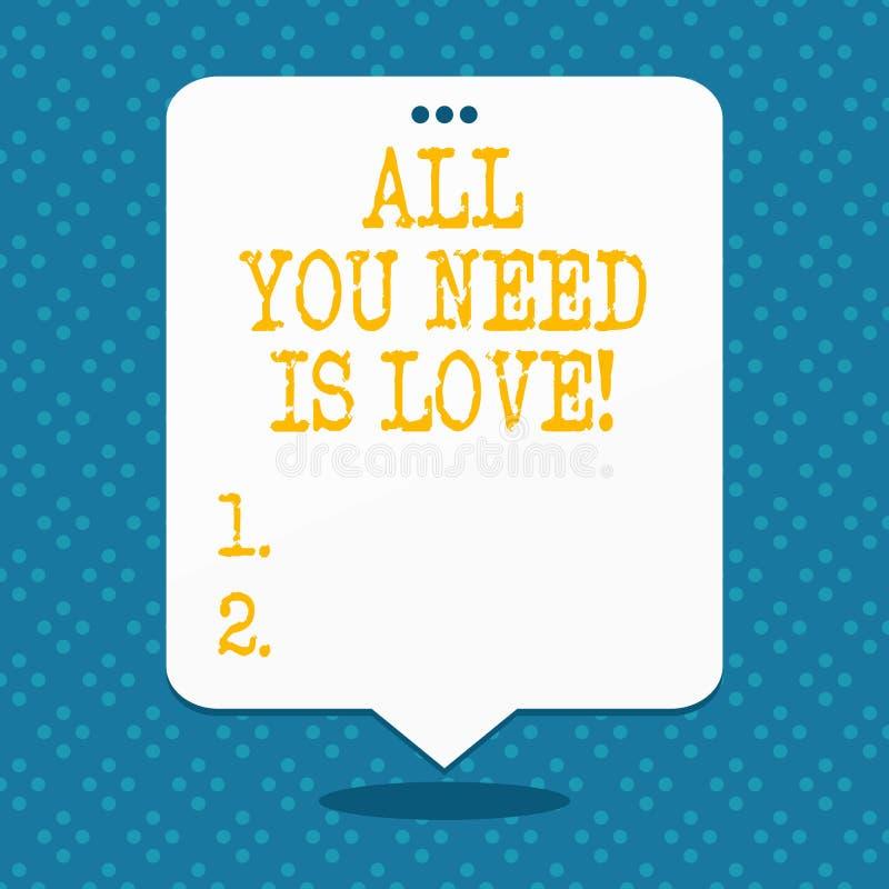 Handskriftall text som du behöver, är förälskelse Behöver djup affektion för begreppsbetydelsen gillanderoanalysisce vektor illustrationer