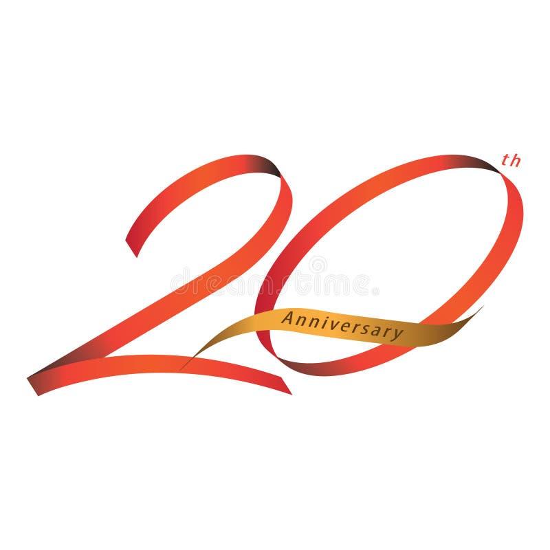Handskriftbandstil som firar 20th vektor illustrationer