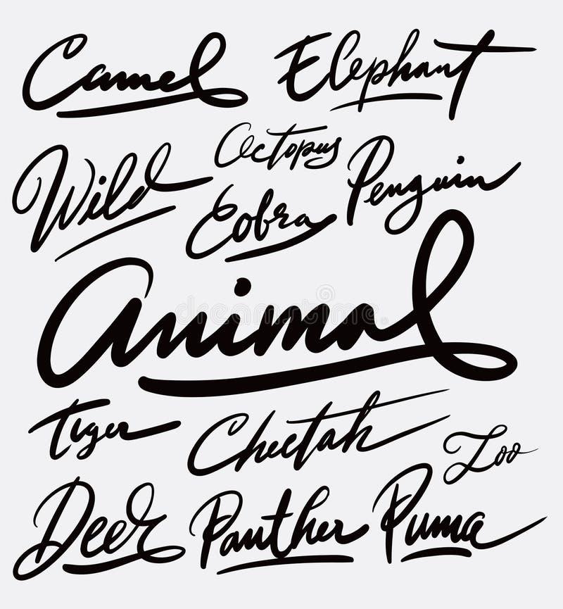 Handskriftkalligrafi för löst djur royaltyfri illustrationer