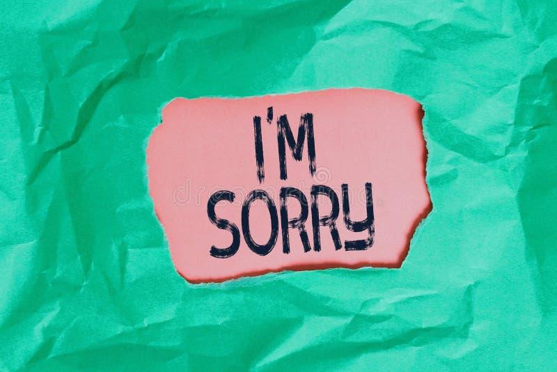 Handskriftstext jag beklagar Koncept som innebär att be om förlåtelse för någon du oavsiktligt skadar Grönt sammankopplat royaltyfria foton