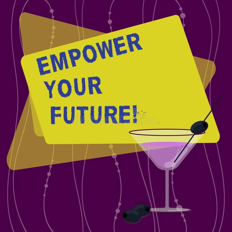 Handskrifttext att bemyndiga din framtid Utveckling för begreppsbetydelsekarriären och anställningsbarhetprogramhandboken fyllde vektor illustrationer