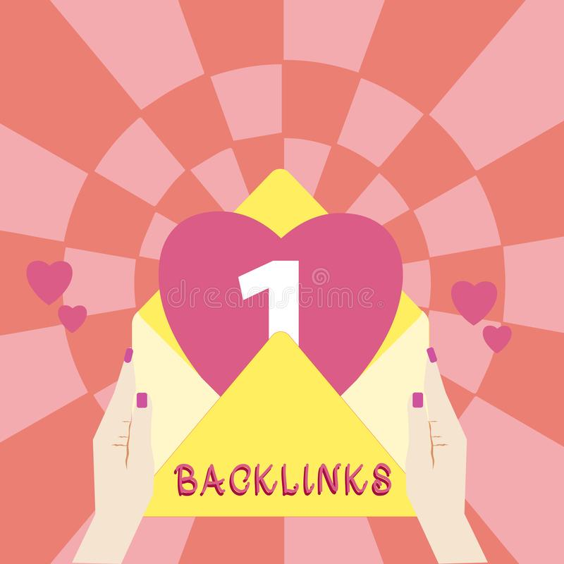 Handskrifttext Backlinks Inkommande hyperlink för begreppsbetydelse från en webbsida till en annan stor websitekvinnlig Hu royaltyfri illustrationer