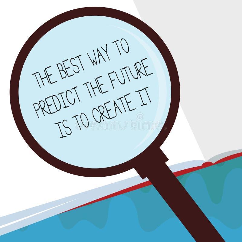 Handskrifttext den bästa vägen att förutsäga framtiden är att skapa den Begreppsbetydelseplan och göra för start vektor illustrationer