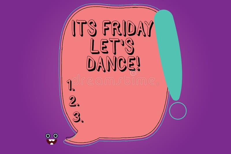 Handskrifttext dess fredag lät s-dans Begreppsbetydelseinbjudan att festa för att gå till ett disko tycker om det lyckliga helgme stock illustrationer