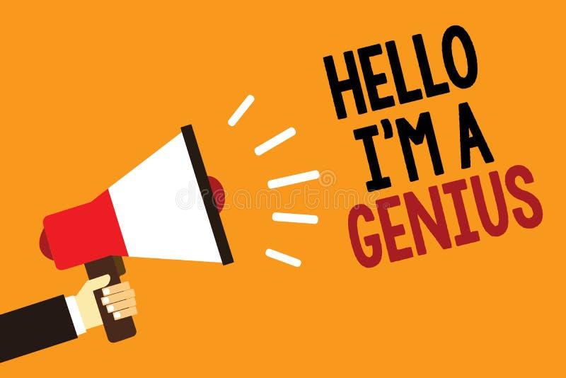 Handskrifttext Hello är jag en snille Begreppsbetydelsen introducerar sig som över genomsnittlig person till andra alarmerande va stock illustrationer