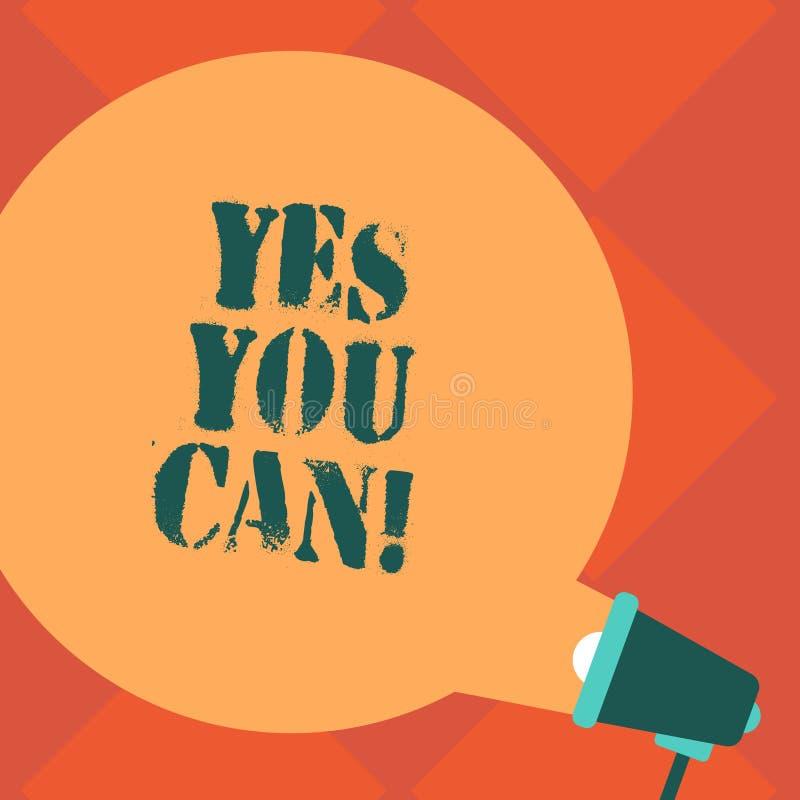 Handskrifttext ja kan du Begreppet som betyder Positivityuppmuntran, övertalar utmaningförtroende försvarar tomt runt färganföran stock illustrationer