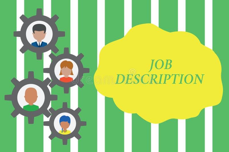 Handskrifttext Job Description Begreppet som betyder ett formellt konto av anställd s, är ansvar Gearshaped vektor illustrationer