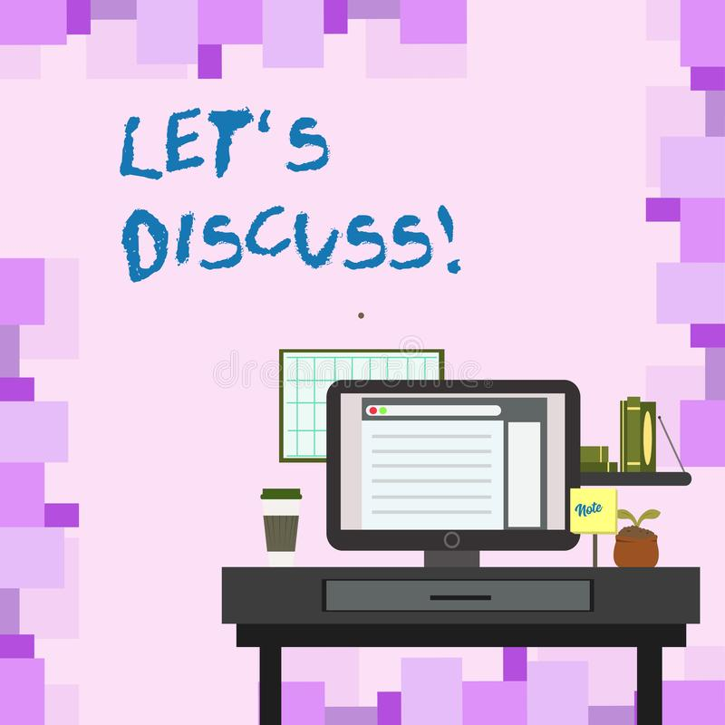 Handskrifttext lät S diskutera Begreppsbetydelse som frågar någon att tala om något med demonstrering eller uppvisning vektor illustrationer