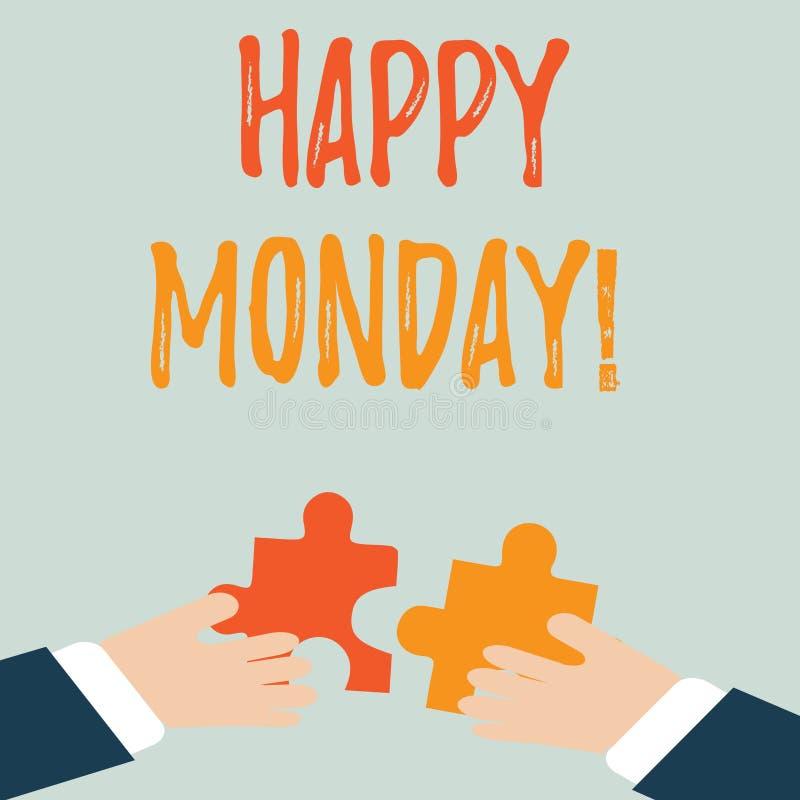 Handskrifttext lyckliga måndag Begreppsbetydelse som berättar, att visa beställning att önska honom utmärkt ny vecka två händer stock illustrationer