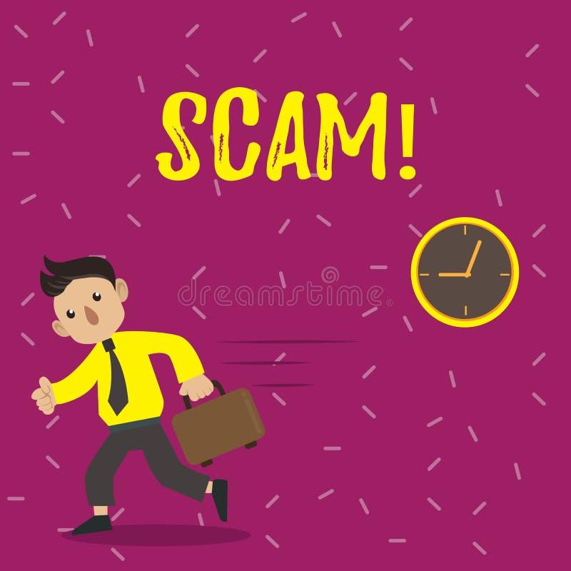 Handskrifttext Scam Folk för trick för bedrägeri för handling för begreppsbetydelse ohederligt för framställning av pengar royaltyfri illustrationer