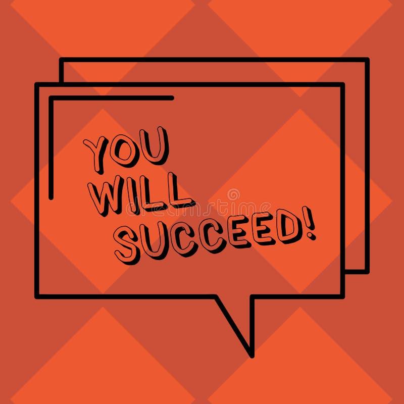 Handskrifttext som du ska lyckas Begreppet som betyder inspirationmotivation för att hålla att arbeta, är positivt rektangulärt royaltyfri illustrationer