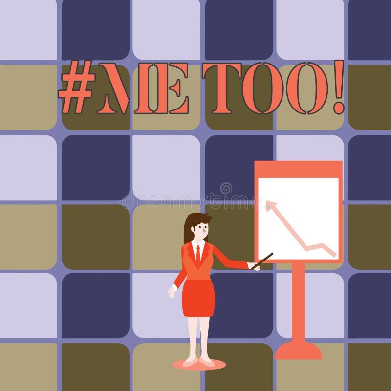Handskrifttext som för skriver Hashtagme Begreppsbetydelsen växer stark och modig nog för att anmäla missbruk, mobbning stock illustrationer