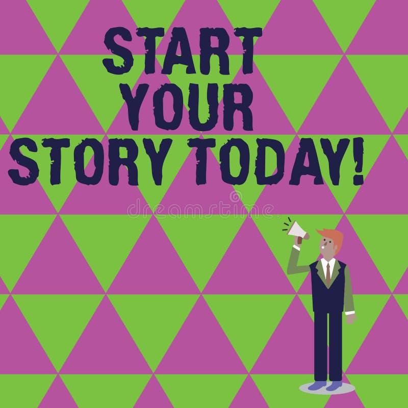Handskrifttext som i dag skriver start din berättelse Begrepp som hårt betyder arbete på dig och att börja från detta ögonblick royaltyfri illustrationer