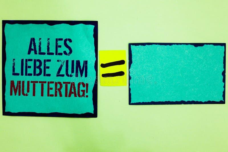 Handskrifttext som skriver Alles Liebe Zum Muttertag Begreppet som betyder lycklig svart för affektion för gratulationer för förä fotografering för bildbyråer