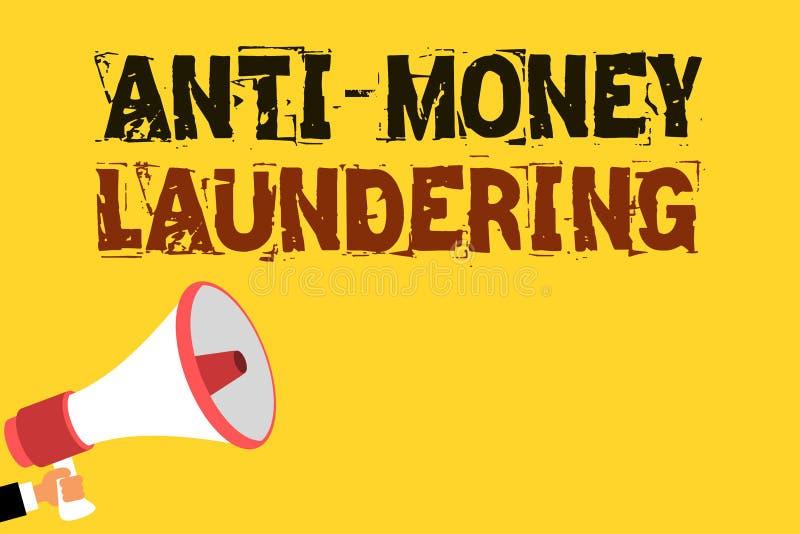 Handskrifttext som skriver anti-penningtvätt Begreppsbetydelsestopp som frambringar inkomst till och med Multiline textnoti för o stock illustrationer