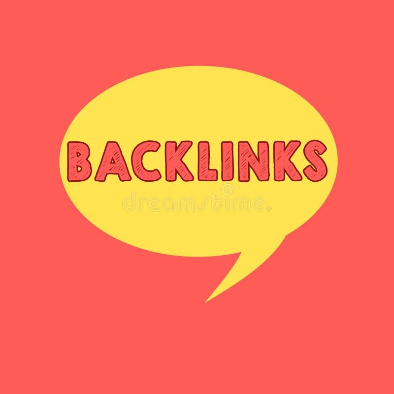 Handskrifttext som skriver Backlinks Inkommande hyperlink för begreppsbetydelse från en webbsida till ett annat stort websiteanfö royaltyfri illustrationer