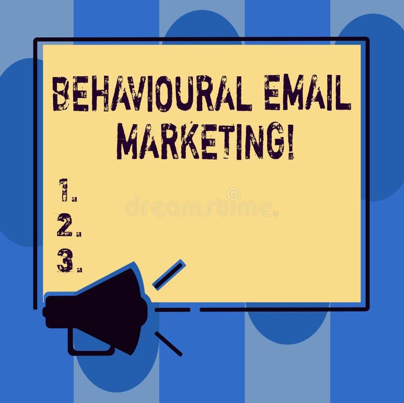 Handskrifttext som skriver beteende- Emailmarknadsföring Strategi för messaging för grund för avtryckare för begreppsbetydelse cu royaltyfri illustrationer