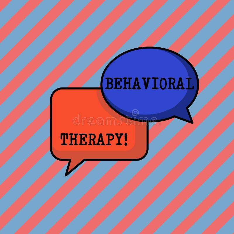 Handskrifttext som skriver beteende- terapi Begreppet som betyder hjälp för att ändra potentiellt selfdestructive uppföranden, pa royaltyfri illustrationer