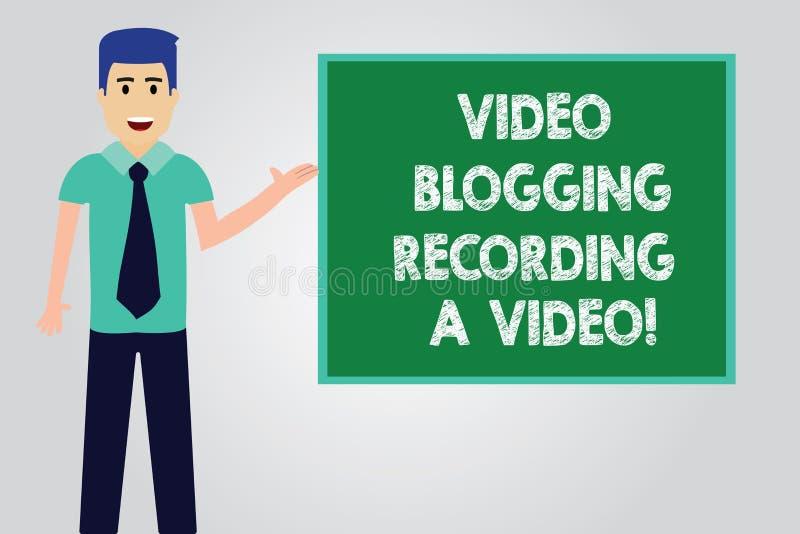 Handskrifttext som skriver Blogging inspelning för video en video Socialt massmedia för begreppsbetydelse som knyter kontakt blog vektor illustrationer