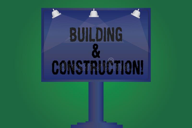Handskrifttext som skriver byggnad och konstruktion Begrepp som betyder arbetet av byggnad eller gör något den tomma lampan royaltyfri illustrationer