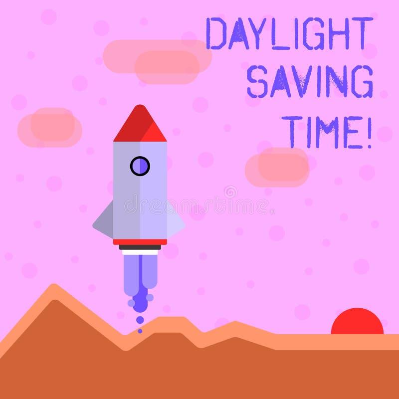 Handskrifttext som skriver dagsljus som sparar Tid Flyttande fram klockor för begreppsbetydelse under sommar som sparar elektrici stock illustrationer