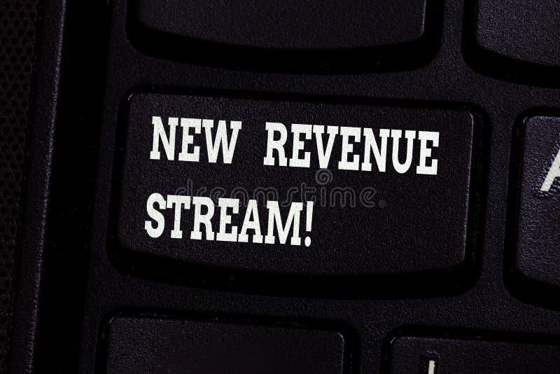 Handskrifttext som skriver den nya intäktströmmen Begreppet som betyder pengarföretaget, mottar att sälja särskild produktservice arkivfoton