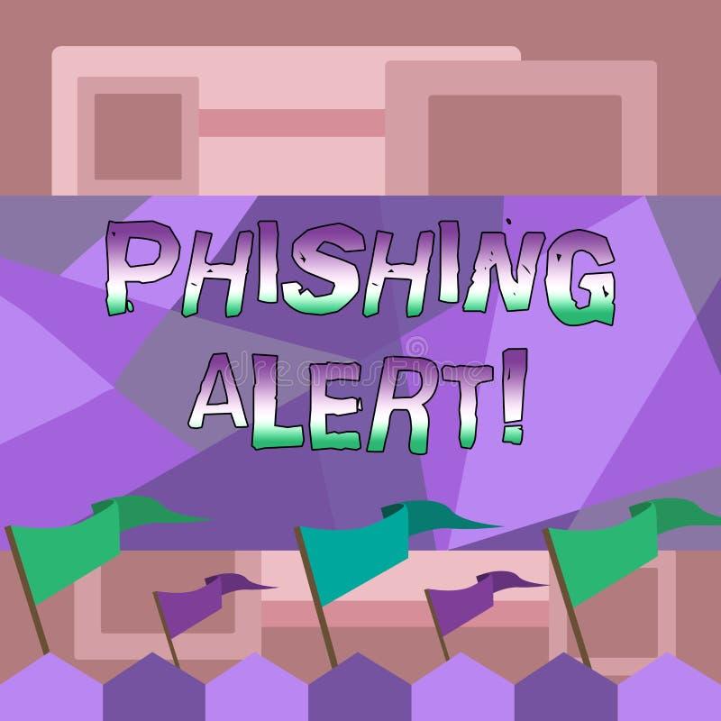 Handskrifttext som skriver den Phishing varningen Plats för besök för användare för begreppsbetydelse direkt var de frågade stock illustrationer