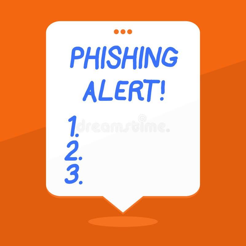Handskrifttext som skriver den Phishing varningen Plats för besök för användare för begreppsbetydelse direkt var de frågade royaltyfri illustrationer