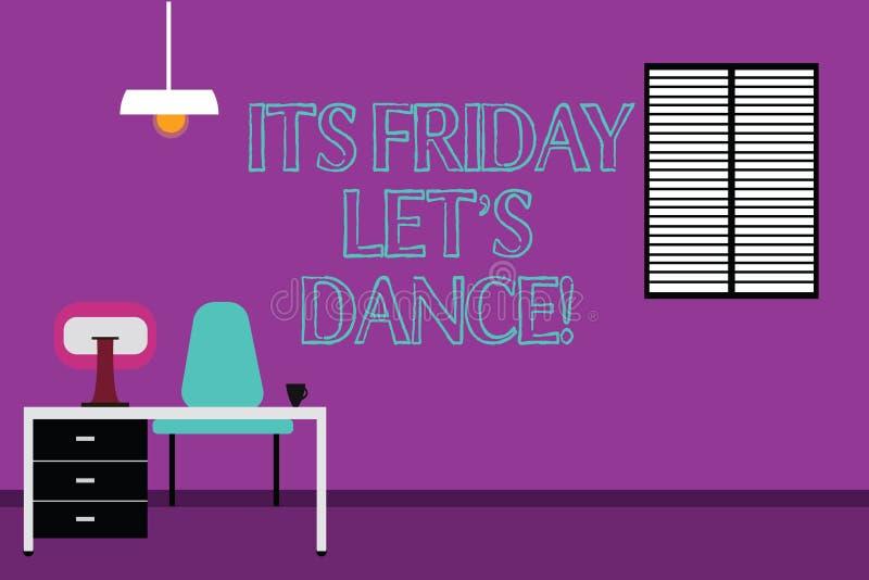 Handskrifttext som skriver dess fredag, lät s-dans Begreppsbetydelseinbjudan att festa för att gå till ett disko tycker om lyckli royaltyfri illustrationer