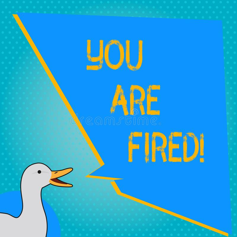 Handskrifttext som skriver dig, avfyras Begreppsbetydelse som ut får från jobbet och det blivna arbetslösa inte slutet karriären vektor illustrationer